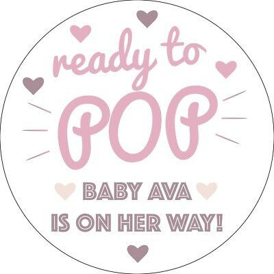 Baby Shower Personalised Round Stickers Labels Ready To Pop Party Favours