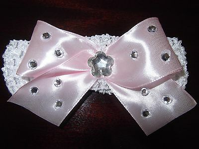 White Baby / Girls Crochet Romany Bling Headband with pink bow.