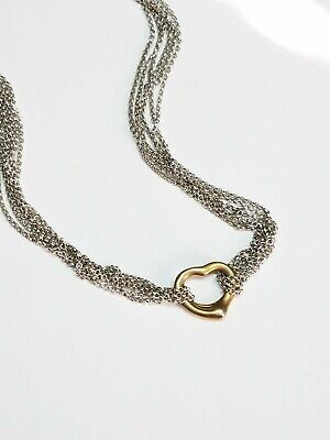 925 Sterling Silver Heart Multi Strand Chain Express Necklace Made in Italy