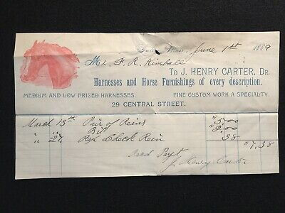 1889 J. Henry Carter, Dr. Salem, Massachusetts *Color* Billhead! Notable Person!