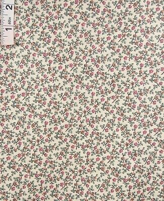 3 yd Small Pink Floral on Beige Cotton Quilt Fabric,Apparel,Crafts