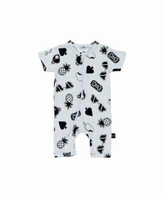 Huxbaby Patches Short Zip Romper 3-6 Months
