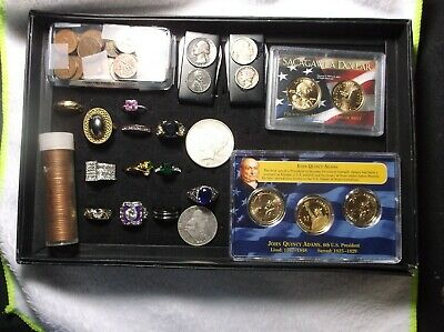 Junk Drawer (Not Junk) With Coins, Rings & Money Clips