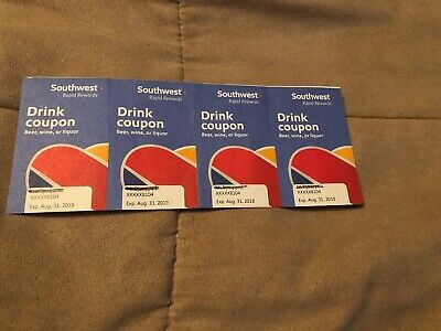 4 Southwest Airlines Drink Coupons Vouchers Tickets Expire August 31st 2019