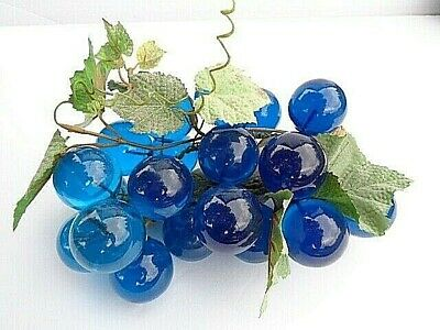 Vintage MCM Blue Lucite Grapes on Driftwood with Ivy Leaves Leaf Tray Not Includ
