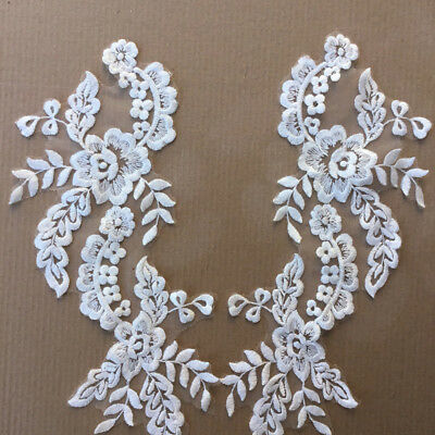 1 Pair Applique Lace Trim Embroidery Sewing Motif DIY Wedding Bridal Crafts IC1C