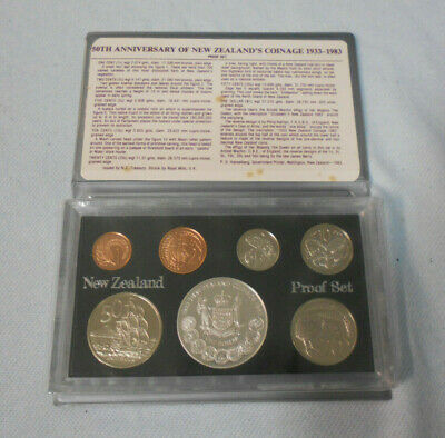 #PP.    1983  NEW ZEALAND PROOF 7 COIN SET - 50th ANNIVERSARY OF COINAGE DOLLAR