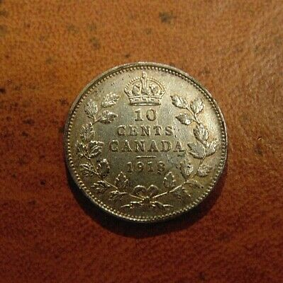 1918 Canada Canadian 10 Ten Cents Silver dime Coin King George V