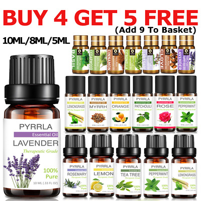BUY 4 GET 5 Pure Essential Oils 10ML Aromatherapy Natural Fragrances Therapeutic