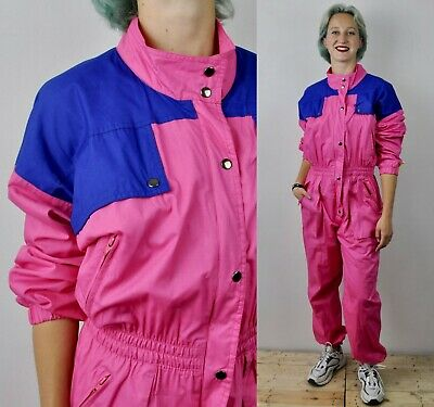 VINTAGE Women's Pink Medium Cotton Shell Coverall Boiler Suit Zip Up Overalls M