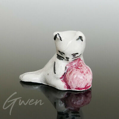 Feve Ancienne Artisanale Chat Miniature Maurin Faience