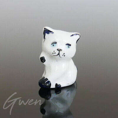 Feve Ancienne Artisanale Chat Miniature Faience