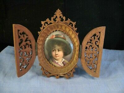 Antique Treen Wooden Black Forest Openwork Picture Frame Miniature Painting