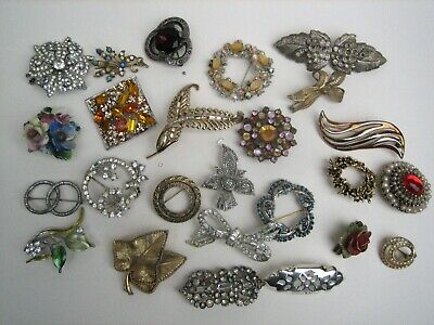 Job Lot Vintage Costume Brooches Wear Spares Repairs