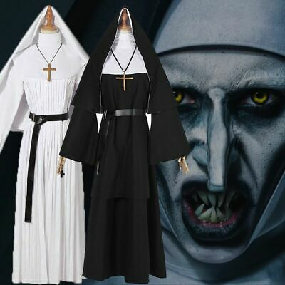 FULL SET THE NUN CONJURING FANCY DRESS COSTUME HORROR OUTFIT MASK Party Suit Set