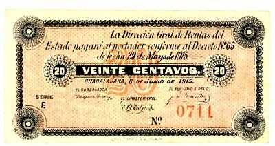 Mexico/Jalisco P-S846 20 Centavos 1915 Ch XF