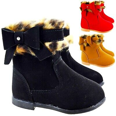 Kids Childrens Infants Girls Ankle Warm Zip Spanish Diamnte Bow Shoes Boots Size