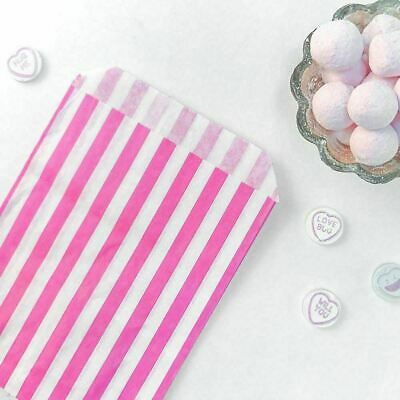 100 X Candy Stripe Paper Bags Sweet Favour Buffet Gift Shop Party New