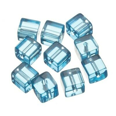 A53//4 Transparent Lt Green Small Cube Glass Beads 6x6mm Pack of 50