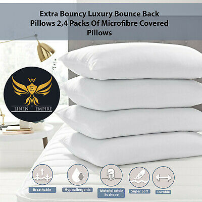 Extra Bouncy Luxury Bounce Back Pillows 2,4 Packs Of Microfibre Covered Pillows