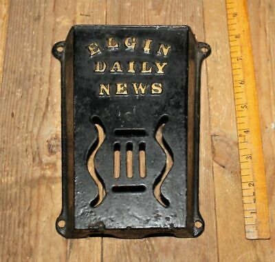 Antique Cast Iron Elgin Illinois Daily News Paper Holder Mail Box