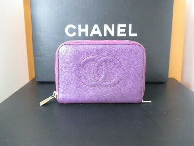 Authentic CHANEL CC Logo Coco mark purple Round zipper wallet #1861Q