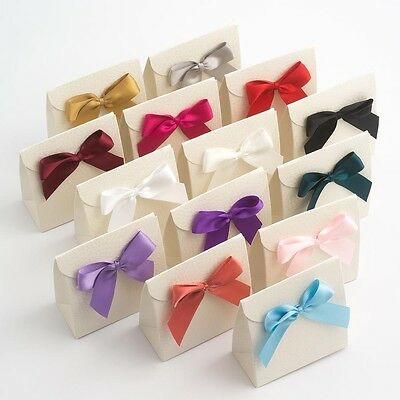 Large 5cm Self Adhesive Satin Bows Pre Tied Sticky Ribbon Bow Wedding Craft