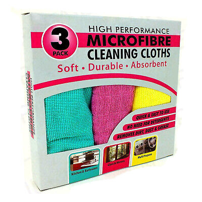 3 High Performance Microfibre Soft Durable Absorbent Home Cleaning Cloths Duster