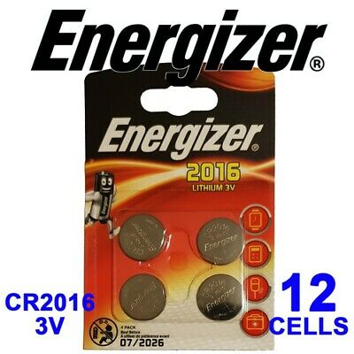 12 X Energizer CR2016 3V Lithium Coin Cell Batteries 07/26 EXPIRY CR 2016