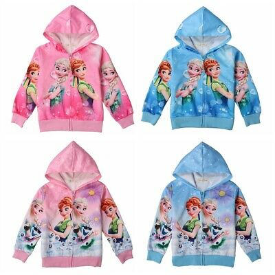 Frozen Elsa Anna Girl Kid Hoodie Jacket Long Sleeve Hooded Coat Outwear Age 3-8Y