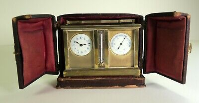 Antique Carriage Clock with barometer & thermometer in original case