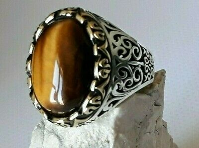 Aaa Quality Sterling Silver Mens Jewelry Africa Tiger's Eye Mens Ring