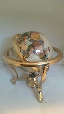 """Large Table Gemstone World Globe with semi-precious stone & mother of pearl 13"""""""