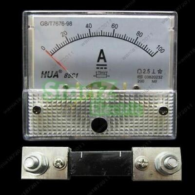 DC 100A  Analog Ammeter Panel AMP Current Meter DC 0-100A 60*70mm with Shunt