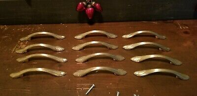 12 Amerock Brass Art Deco Hollywood Regency Leaf Cabinet Drawer Pulls Handles