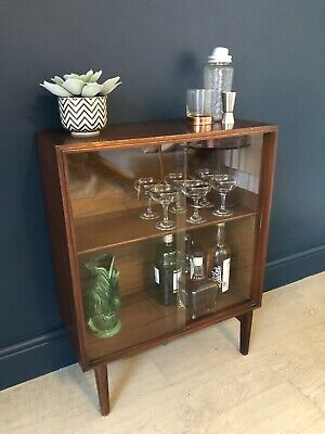 Mid century vintage retro small glass display/bookcase/drinks cabinet