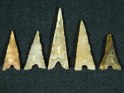 A Lot of FIVE! Ancient AAA North African Tidikelt Arrowheads or Points! 3.8 e