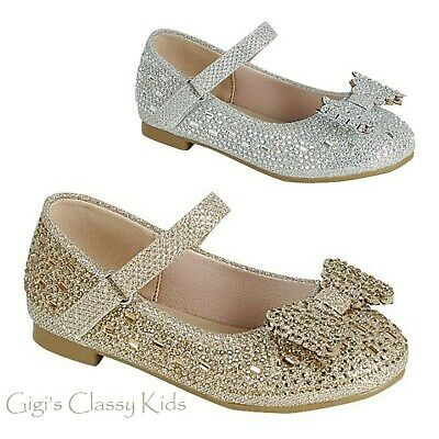 New Girls Glitter Gold Silver Dress Shoes Flats Jewels Toddler Christmas Party