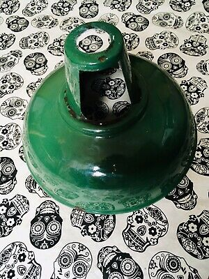 Antique Vintage Rustic French Industrial Green Enamel Light Shade