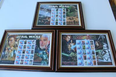 Australia STAR WARS Benham Stamp Sheets Framed x3 inc One Ltd Edition