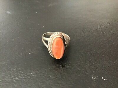 Vintage Sterling Silver Ring With Orange Agate? Stone - Handcrafted Sz 5.5