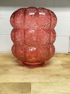 Vintage Mid Century Crackle Glass Hanging Light Pink Peach Swag Lampshade