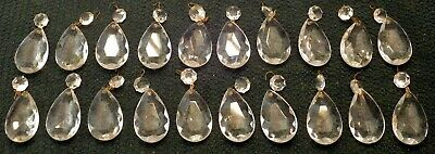 Lot of 20 Vtg Clear Crystal Glass Chandelier Lamp Parts Prisms Pendant Drops