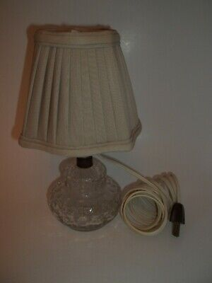Antique Clear Glass Electric Bedroom Table Lamp w/ Original Cord & Shade Works