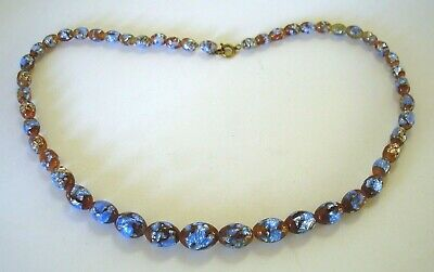 Pretty antique Art Deco Venetian blue foil glass bead necklace 19 inches long