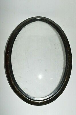 Antique Victorian Edwardian Oval Wood Picture Frame Convex Bubble Glass 22 x 16