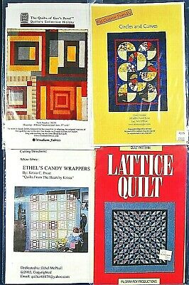 4 Lot Floral & Abstract Patchwork Quilting Patterns Samplers,Wall Hanging
