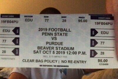 4 Penn State Nittany Lions vs. Purdue Football Tickets rows 77 & 78