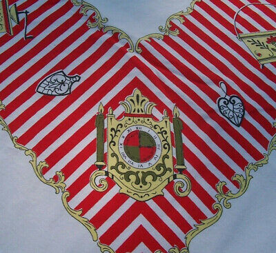 Vintage Red & White Striped Printed Tablecloth w Clock Grinder Pitcher Old Stuff