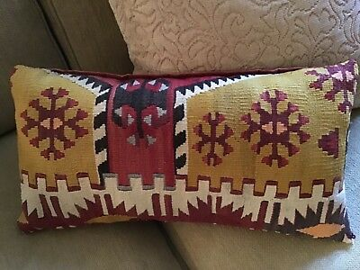 """Lovely Old Kilim Pillow in Wonderful Colors Measures Approx 10"""" x 20"""""""